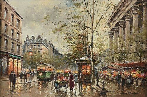 """ANTOINE BLANCHARD (1910-1980) A PAINTING, """"Place de la Madeleine, Marche aux Fleurs,"""""""