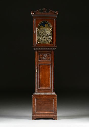 "A SCOTTISH GEORGE III ""MOON PHASES"" CLOCK, BY J. CAMERON AND SONS, KILMARNOCK,  EARLY 19TH CENTURY, IN LATER OAK LONGCASE, CIRCA 1870s,"