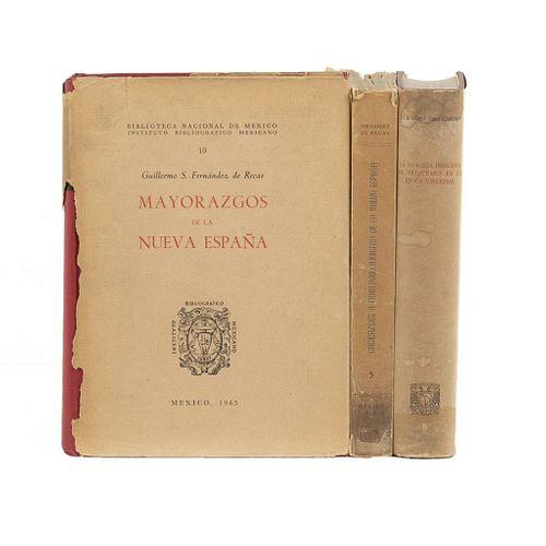 LIBROS SOBRE LA NUEVA ESPAÑA. a) Cacicazgos y Nobiliario Indígena de la Nueva España. b) Mayorazgo de la Nueva España. Piezas: 3.