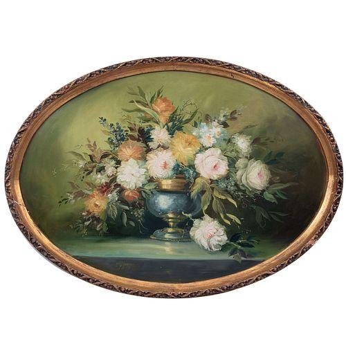 Alcántara. Bouquet. Óleo sobre fibracel. Firmado y fechado 77. Enmarcado. Diseño oval. 74 x 107 cm