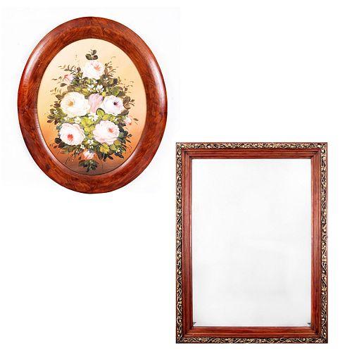 Lote de 2 piezas. Consta de: a) Espejo. Siglo XX. Estructura de madera. Con luna rectangular biselada. Otro