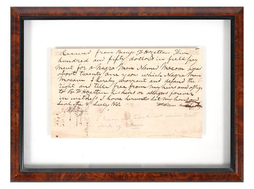 SLAVE DOCUMENT: 1842 Bill of Sale