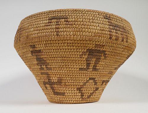 Apache Basket, Pictorial Vintage Native American