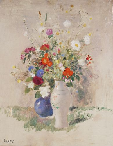 GERALD LEAKE, Floral Still Life, O/C