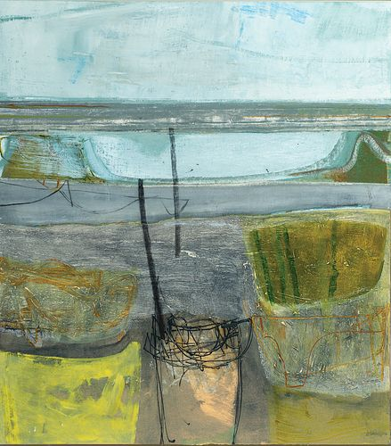"""Peter Joyce, En. b. 1964, """"La Coupelasse"""" 2008, Acrylic and collage on board, framed, panel floated on other panel for framing purposes"""