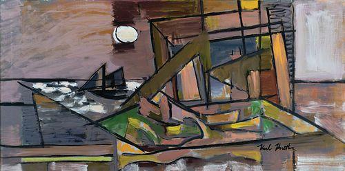"Karl Knaths, Am. 1891-1971, ""Harbor Moon"" (Provincetown) 1959, Oil on canvas, framed"