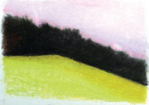 Wolf Kahn, Am. 1927-2020, Hillside in Vermont, Pastel on paper, framed