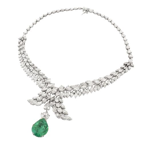 Emerald, Diamond and 14K Necklace