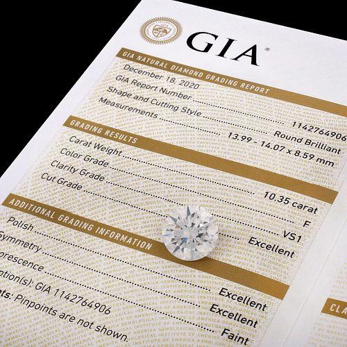 GIA 10.35ct Round Brilliant Cut Diamond