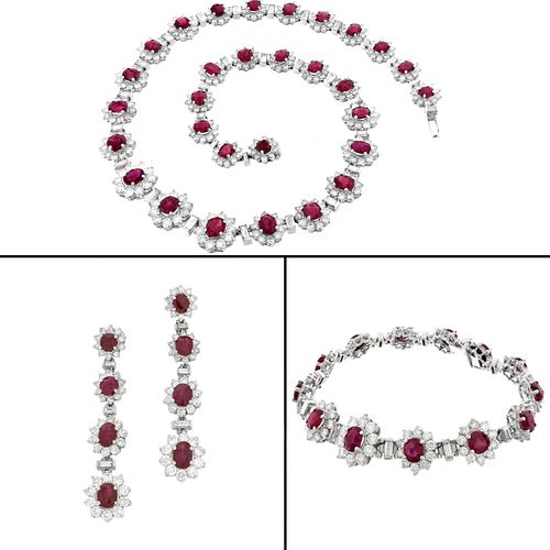 Ruby and Diamond Jewelry Suite