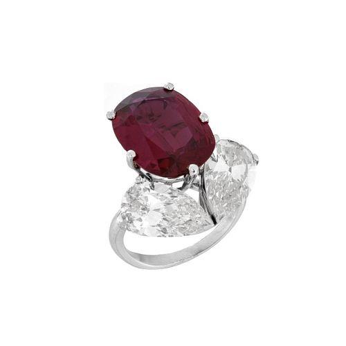 Ruby, Diamond and Platinum Ring