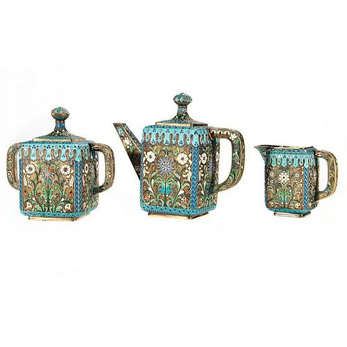 Russian Enamel Silver Tea Service