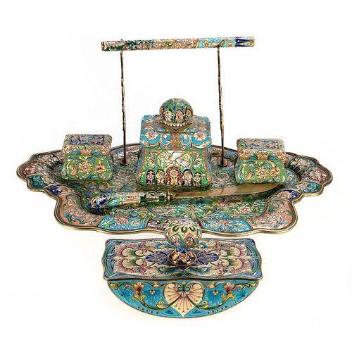 Russian Enamel Silver Desk Set