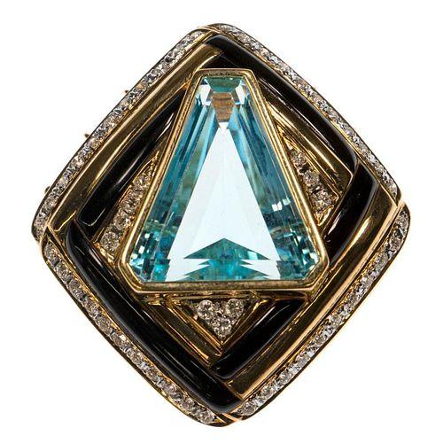 Blue topaz, diamond, onyx, 18k pendant-enhancer