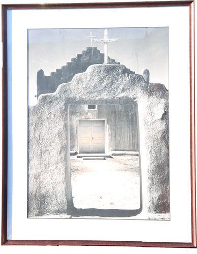 """Original Ansel Adams Photo, """"Church, Taos Pueblo"""""""
