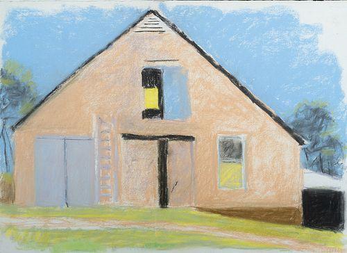 Wolf Kahn, Am. 1927-2020, Frontal Barn, Pastel on paper, framed