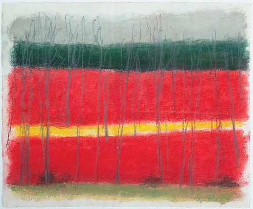 Wolf Kahn, Am. 1927-2020, Red, Green, Yellow, Pastel on paper, framed under glass