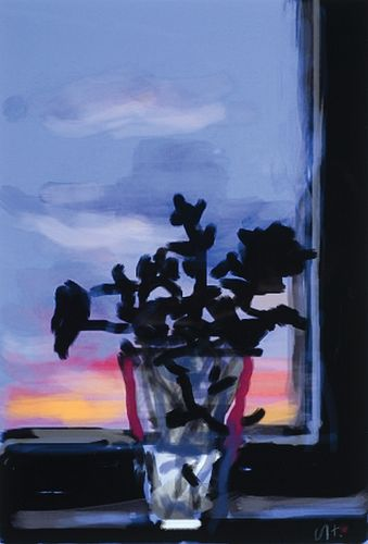 David Hockney, Am. b. 1937, Silhouetted Flowers, Digital print, matted and framed under glass