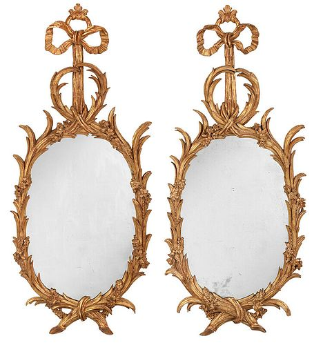 Important Pair George III Carved Giltwood Mirrors