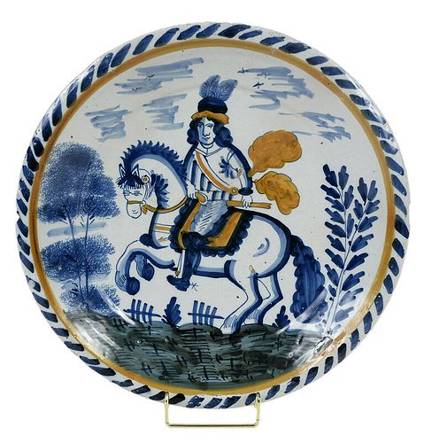 "English Delft ""Royalist"" Equestrian Charger"