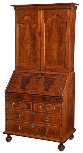 Rare Boston William and Mary Desk and Bookcase