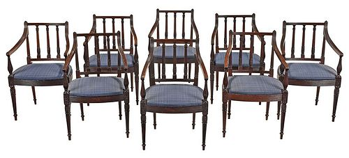 Rare Set Eight Philadelphia Mahogany Armchairs
