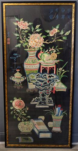 Large Chinese Embroidery with Scholar's Motif.
