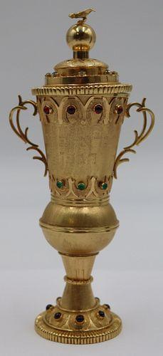 JUDAICA. (4) piece 18kt Gold and Jeweled Havdalah