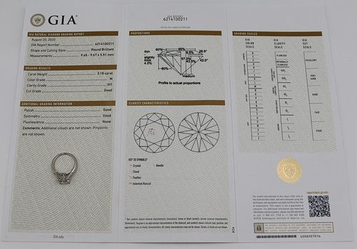 JEWELRY. GIA 3.18ct RBC Diamond Engagement Ring.