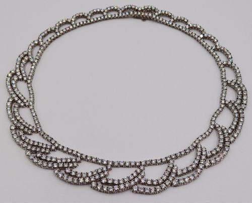 JEWELRY. Platinum and 30ct Diamond Bib Necklace.