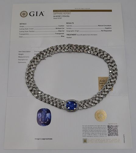 JEWELRY. 22.55ct Natural Sapphire, Diamond and 18k
