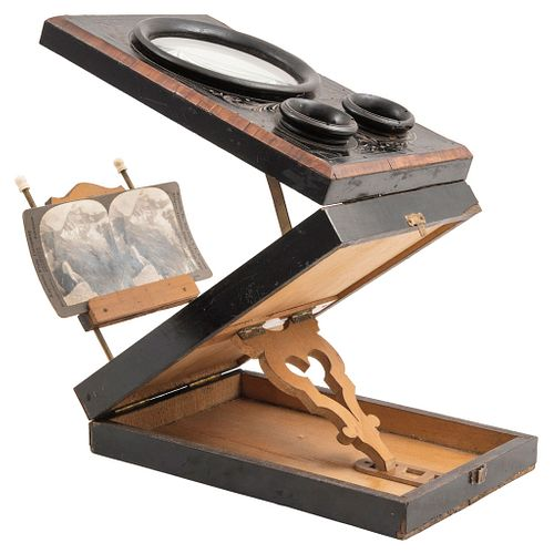 """STEREOSCOPE WITH SLIDES, FRANCE, 19TH CENTURY, Carved wood with floral details Conservation details 10.6 x 7"""" (27 x 18 cm)"""
