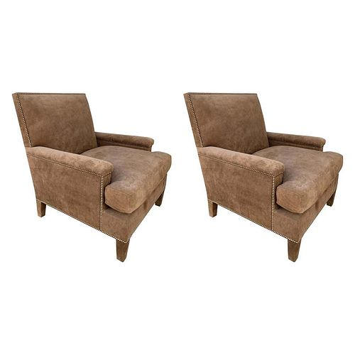 Pair of Large Armchairs Upholstered in Brown Suede