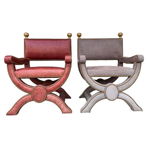"Pair of Richard Shapiro ""Nola"" Chairs in Embossed Leath"