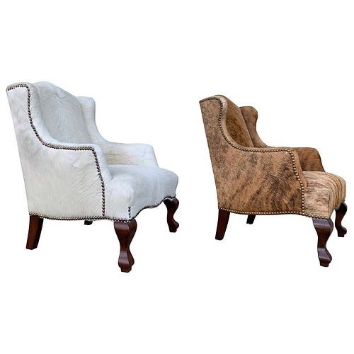 2 Wingback Chairs 1 in Brown/White Cowhide, Kid Size