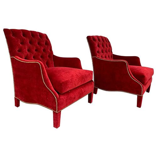 Pair of English Style Armchairs with Tufted Backs