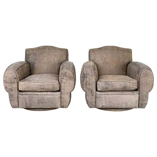 Stunning set of Deco Style Armchairs in Brown Leather