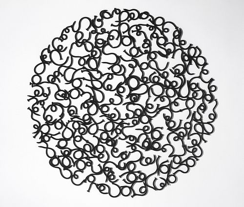 John Bisbee, Am. b. 1965, Large Circle, 2009, Hammered and welded steel nails