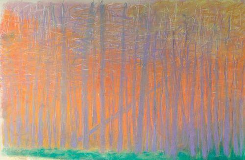 Wolf Kahn, Am. 1927-2020, Green Tree Screen, Pastel on paper, framed
