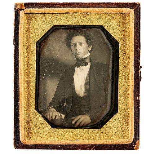 [LIBERIA] -- [ROBERTS, Joseph Jenkins (1809-1876)]. Sixth plate daguerreotype of Joseph Jenkins Roberts, the first and seventh president of Liberia. N
