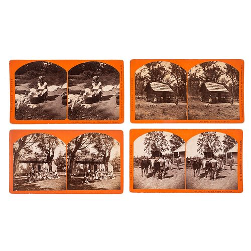 [STEREOVIEWS] -- [RECONSTRUCTION]. BLESSING, S.T., photographer. Group of 16 Louisiana stereoviews depicting African American life on sugar and cotton