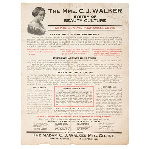 [BUSINESS] -- [WALKER, Madam C.J. (born Sarah Breedlove, 1867-1919)]. The Mme. C.J. Walker System of Beauty Culture: The Oldest, The Most Widely Known