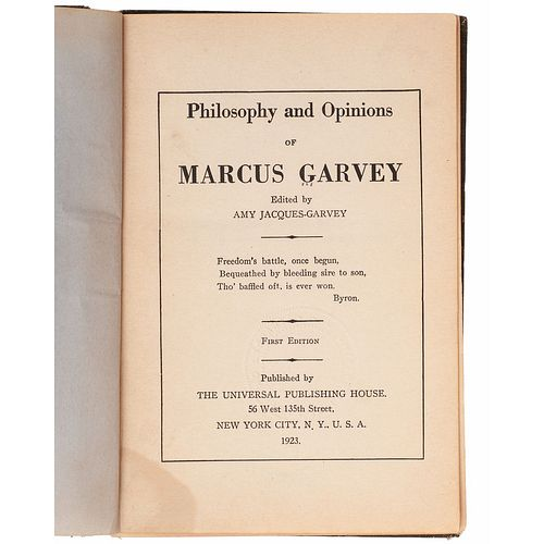 GARVEY, Marcus (1887-1940). -- GARVEY, Amy Jacques (1894-1973), editor. Philosophy and Opinions of Marcus Garvey. New York: Universal Publishing House