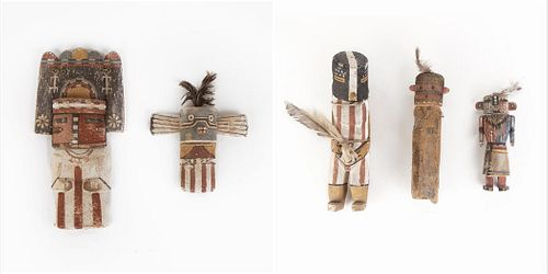 A Group of Five Old Style Hopi Kachinas