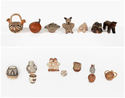 A Group of Sixteen Miniature Pottery Pieces