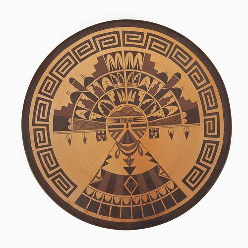 Hopi, Valerie Kahe, Polychrome Plate with Kachina