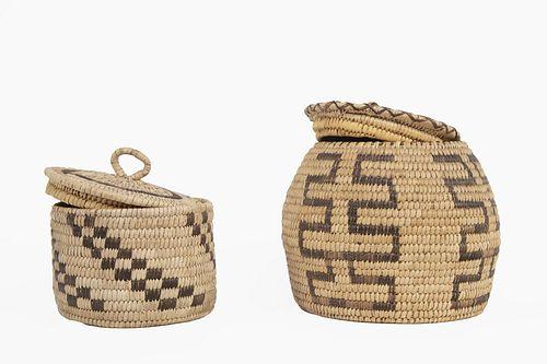 Two Lidded Tohono O'odham [Papago] Baskets, ca. 1950