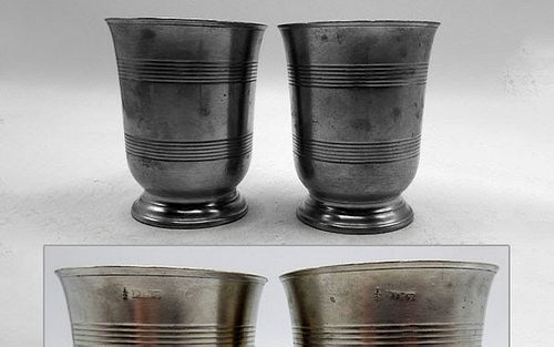 Footed English Pewter Pair Beakers