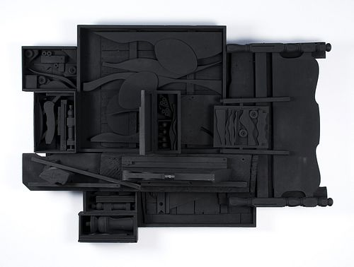 """Louise Nevelson, Am. 1899-1988, """"Moon Zag III"""" 1984, Wooden Sculpture painted black"""