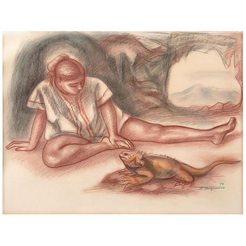 """RAÚL ANGUIANO, Muchacha con iguana, Signed and dated 70, Sanguine and pastels on paper, 19.4 x 25.1"""" (49.5 x 64 cm), Document"""